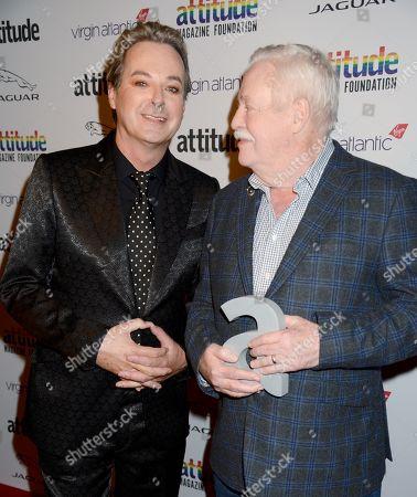 Stock Photo of Julian Clary and Armistead Maupin winner of The Attitude Literary award