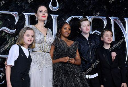 Stock Picture of Vivienne Jolie-Pitt, Angelina Jolie, Zahara Jolie-Pitt, Shiloh Jolie-Pitt and Knox Leon Jolie-Pitt