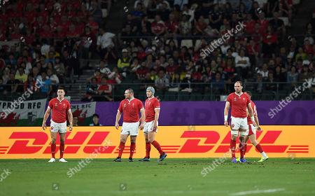 Dejected Josh Adams, Ken Owens, Jonathan Davies and Alun Wyn Jones of Wales.