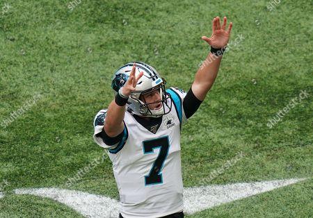 Carolina Panthers quarterback Kyle Allen  (7)  celebrates opening touchdown