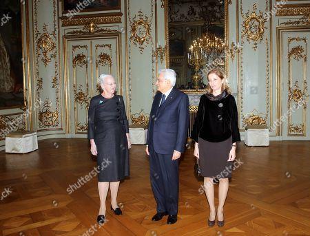 Queen Margrethe II welcomes Italy's President Sergio Mattarella and first lady Laura Mattarella at Amalienborg Castle in Copenhagen.