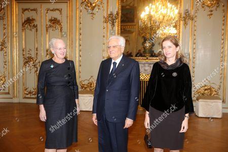 Stock Photo of Queen Margrethe II welcomes Italy's President Sergio Mattarella and first lady Laura Mattarella at Amalienborg Castle in Copenhagen.
