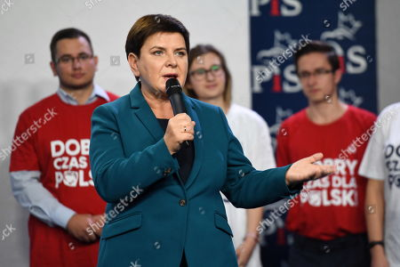 Polish deputy Prime Minister Beata Szydlo attends a press conference at the Polish Law and Justice (PiS) rulling party headquarters in Warsaw, Poland, 09 October 2019. An average of eleven candidates are running for each Sejm (lower house) seat in the national elections planned for 13 October 2019. In total, 5,114 people are running for 460 seats. Two hundred and seventy-eight people are running for the Senate (upper house), three candidatures for each seat. Five electoral committees were registered in all 41 constituencies, namely, the ruling Law and Justice (PiS) party, Poland's main opposition bloc the Civic Coalition (KO), the Polish People's Party (PSL), the Confederation Freedom and Independence and the Left (Lewica) bloc comprising liberal and left-wing parties the Democratic Left Alliance (SLD), Spring and Together.