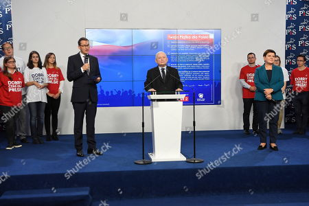 (L-R) Polish Prime Minister Mateusz Morawiecki, leader of the Polish Law and Justice (PiS) rulling party Jaroslaw Kaczynski and deputy Prime Minister Beata Szydlo attend a press conference at the party headquarters in Warsaw, Poland, 09 October 2019. An average of eleven candidates are running for each Sejm (lower house) seat in the national elections planned for 13 October 2019. In total, 5,114 people are running for 460 seats. Two hundred and seventy-eight people are running for the Senate (upper house), three candidatures for each seat. Five electoral committees were registered in all 41 constituencies, namely, the ruling Law and Justice (PiS) party, Poland's main opposition bloc the Civic Coalition (KO), the Polish People's Party (PSL), the Confederation Freedom and Independence and the Left (Lewica) bloc comprising liberal and left-wing parties the Democratic Left Alliance (SLD), Spring and Together.