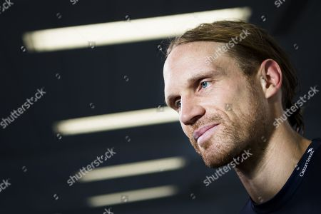 Switzerland's national soccer team player Michael Lang speaks during a press conference before the upcoming UEFA Euro 2020 qualifying soccer match, at the stade Olympique de la Pontaise in Lausanne, Switzerland, 09 October 2019. Denemark will play Switzerland for the UEFA Euro 2020 qualifying Group D soccer match on October 12 in Copenhagen.