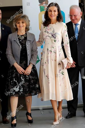 Spain's Queen Letizia (C) arrives to an event to mark World Mental Health Dayat La Latina Theater in Madrid, Spain, 09 October 2019. The queen, accompanied by acting Spanish Health Minister, Maria Luisa Carcedo (L), and Spanish Mental Health Conferderation's President, Nel Gonzalez Zapico (R), attended the event focused on suicide prevention.