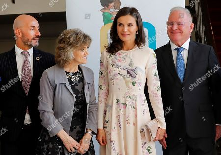 Spain's Queen Letizia (2-R) arrives to an event to mark World Mental Health Dayat La Latina Theater in Madrid, Spain, 09 October 2019. The queen, accompanied by acting Spanish Health Minister, Maria Luisa Carcedo (2-L), and Spanish Mental Health Conferderation's President, Nel Gonzalez Zapico (R), attended the event focused on suicide prevention.