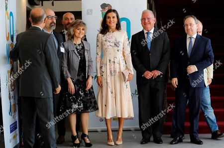 Spain's Queen Letizia (C) arrives to an event to mark World Mental Health Dayat La Latina Theater in Madrid, Spain, 09 October 2019. The queen, accompanied by acting Spanish Health Minister, Maria Luisa Carcedo (3-L), and Spanish Mental Health Conferderation's President, Nel Gonzalez Zapico (2-R), attended the event focused on suicide prevention.