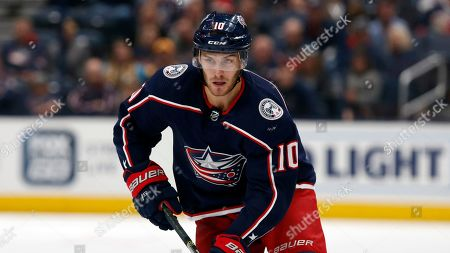Columbus Blue Jackets forward Alexander Wennberg, of Sweden, is seen against the Buffalo Sabres during an NHL hockey game in Columbus, Ohio, . The Blue Jackets won 4-3 in overtime