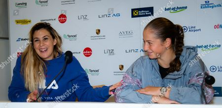 Jelena Ostapenko of Latvia and newly-appointed coach Marion Bartoli talk to the media at the 2019 Upper Austria Ladies Linz WTA International tennis tournament