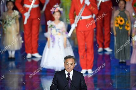 China's Vice Premier Hu Chunhua Keqiang delivers a speech during the closing ceremony of the 2019 International Horticultural Exhibition in Beijing, China, 09 October 2019.
