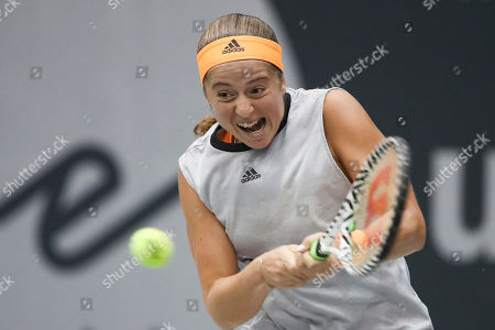 Jelena Ostapenko of Latvia in action during the match