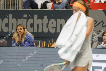 Jelena Ostapenko of Latvia with trainer coach Marion Bartoli during the match
