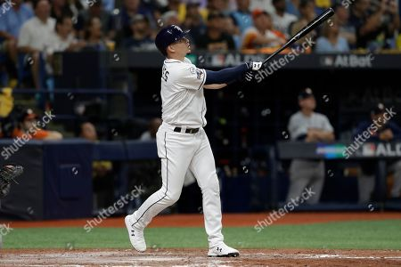 Tampa Bay Rays' Willy Adames watches his home run off Houston Astros starting pitcher Justin Verlander during Game 4 of a baseball American League Division Series, in St. Petersburg, Fla