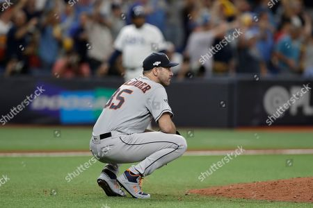 Houston Astros starting pitcher Justin Verlander watches a home run by Tampa Bay Rays' Willy Adames during Game 4 of a baseball American League Division Series, in St. Petersburg, Fla