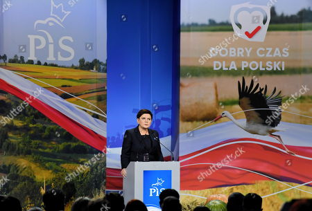 Deputy Prime Minister Beata Szydlo delivers a speech during the ruling Law and Justice party's regional convention in Kielce, Poland, 09 October 2019. An average of eleven candidates are running for each Sejm (lower house) seat in the national elections planned for 13 October 2019. In total, 5,114 people are running for 460 seats. Two hundred and seventy-eight people are running for the Senate (upper house), three candidatures for each seat. Five electoral committees were registered in all 41 constituencies, namely, the ruling Law and Justice (PiS) party, Poland's main opposition bloc the Civic Coalition (KO), the Polish People's Party (PSL), the Confederation Freedom and Independence and the Left (Lewica) bloc comprising liberal and left-wing parties the Democratic Left Alliance (SLD), Spring and Together.
