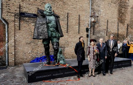Dutch Princess Beatrix (2-L) attends the unveiling of a statue of Willem van Oranje (William of Orange, founder of the house Orange-Nassau) in Dordrecht, Netherlands, 09 October 2019. The Prince William the First Remembrance Foundation donated the statue to the city of Dordrecht.