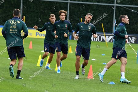 Italy's players  (L-R)  Nicolo Barella, Federico Chiesa, Cristiano Biraghi and Andrea Belotti during a training session at Coverciano Sport Center in Florence, Italy, 9 October  2019. Italy prepares the UEFA Euro 2020 group J qualifying soccer matches against Greece on 12 October 2019 and Liechtenstein on 15 October 2019.