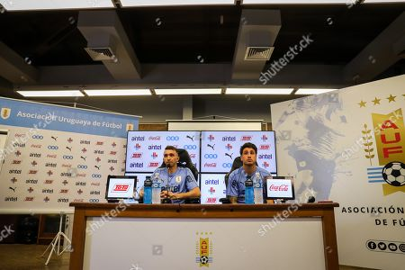 Uruguayan National Team's defender Jose Maria Gimenez (R) takes part in a press conference along with goalkeeper Fernando Muslera (L) after a training prior to the 11 October game against Peru, at the Celeste Complex in Montevideo, Uruguay, 09 October 2019.