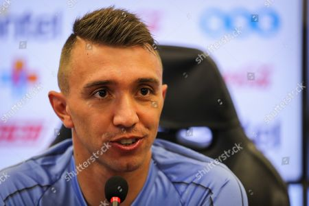 Uruguayan National Team's goalkeeper Fernando Muslera speaks during a press conference after a training prior to the 11 October game against Peru, at the Celeste Complex in Montevideo, Uruguay, 09 October 2019.