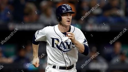 Tampa Bay Rays' Joey Wendle doubles off Houston Astros starting pitcher Justin Verlander during Game 4 of a baseball American League Division Series, in St. Petersburg, Fla