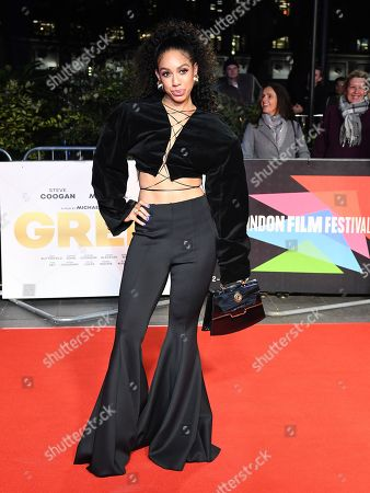 Pearl Mackie poses at the film premiere of 'Greed' during the London Film Festival at Leicester Square in London, Britain, 09 October 2019. The British Film Institute (BFI) festival runs from 02 to 13 October.
