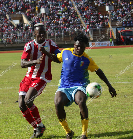 Liberia striker Sam Johnson (L) with opponent  in action  during 2021 Africa Cup of Nations qualification preliminary round match  between Liberia and Chad at the Antoinette Tubman Stadium in Paynesville, outside Monrovia, Liberia, 9 October 2019. Liberia and Chad are among eight teams paired based on their  FIFA World ranking for qualification matches. The four winners will move to the group stage to join 44 teams which entered directly.