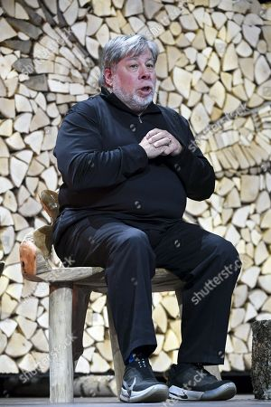 Apple co-founder Steve Wozniak speaks to the crowd during the Nordic Business Forum business seminar