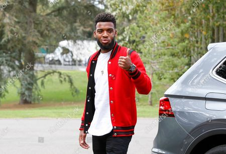 Stock Image of Thomas Lemar arrives at the French national football team training base to prepare the upcoming qualification football matches against Iceland and Turkey