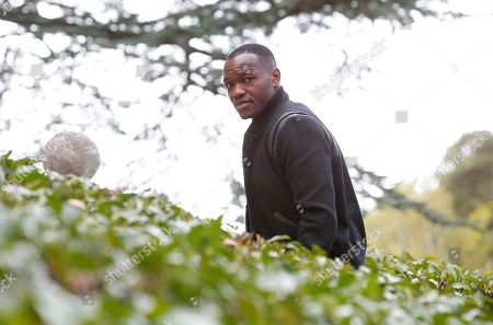 Steve Mandanda arrives at the French national football team training base to prepare the upcoming qualification football matches against Iceland and Turkey