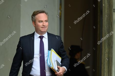 French Junior Foreign Affairs Minister Jean-Baptiste Lemoyne leaves after the weekly cabinet meeting