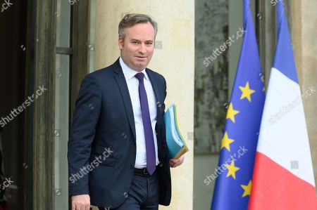 French Junior Foreign Affairs Minister Jean-Baptiste Lemoyne leave after the weekly cabinet meeting