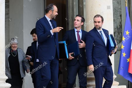French Prime Minister Edouard Philippe, French Junior Minister for Transport Jean-Baptiste Djebbari-Bonnet and French deputy minister, Sebastien Lecornu leave after the weekly cabinet meeting