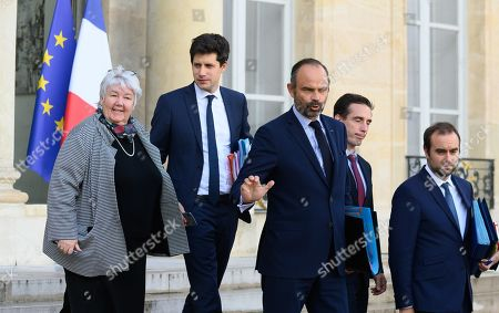 French French Minister of Territorial Cohesion and Relations with Local Authorities Minister, Jacqueline Gourault, French Housing minister Julien Denormandie, Julien Denormandie, French Prime Minister Edouard Philippe, French Junior Minister for Transport Jean-Baptiste Djebbari-Bonnet and French deputy minister, Sebastien Lecornu leave after the weekly cabinet meeting