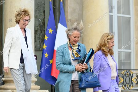 French Labour Minister Muriel Penicaud, French Junior Minister in charge of Disabled People Sophie Cluzel and French Justice Minister Nicole Belloubet leave after the weekly cabinet meeting
