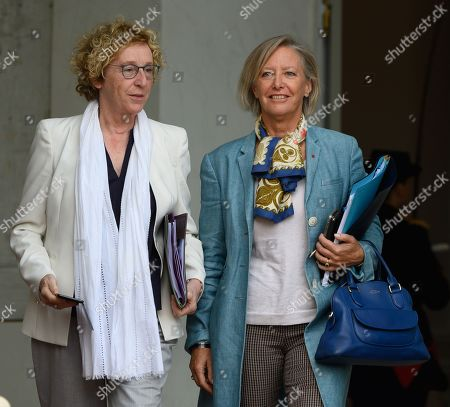 French Labour Minister Muriel Penicaud and French Junior Minister in charge of Disabled People Sophie Cluzel leave after the weekly cabinet meeting