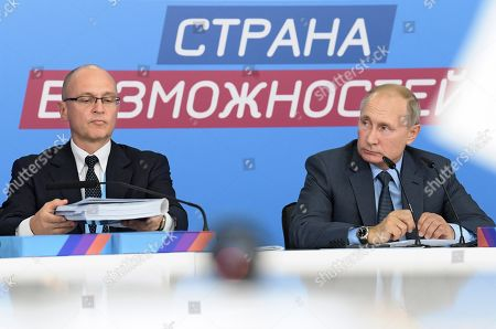 Stock Image of President of Russia Vladimir Putin (right) and First Deputy Head of the Presidential Executive Office Sergei Kiriyenko (left) during the first extended meeting of the supervisory board of the 'Russia is a country of opportunities' platform on the basis of the Sirius educational center