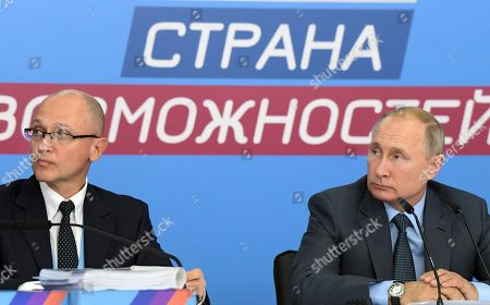 President of Russia Vladimir Putin (right) and First Deputy Head of the Presidential Executive Office Sergei Kiriyenko (left) during the first extended meeting of the supervisory board of the 'Russia is a country of opportunities' platform on the basis of the Sirius educational center