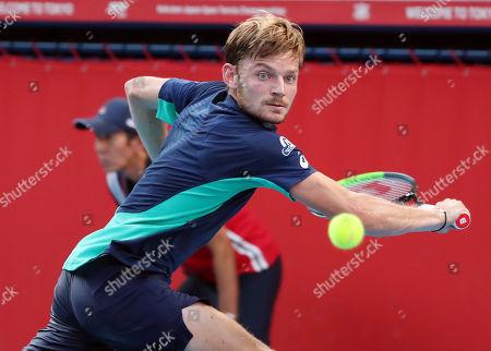 David Goffin of Belgium returns the ball during the Men's Singles Semi-final