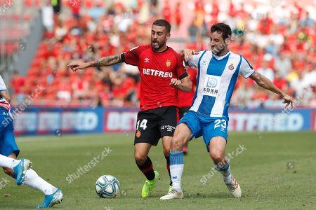 (L-R) Dani Rodriguez (Mallorca), Esteban Granero (Espanyol)