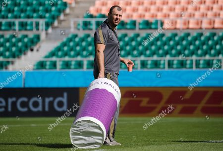 Australia rugby coach Michael Cheika arrives for a training session at Shizuoka Stadium Ecopa, Japan, . Australia will play tomorrow against Georgia during their Rugby World Cup Pool D game