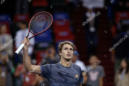 Alexander Zverev of Germany gestures to spectators after defeating Andrey Rublev of Russia in the men's singles match at the Shanghai Masters tennis tournament at Qizhong Forest Sports City Tennis Center in Shanghai, China