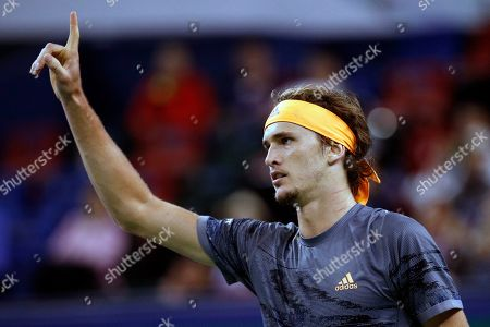 Alexander Zverev of Germany gestures after defeating Andrey Rublev of Russia in the men's singles match at the Shanghai Masters tennis tournament at Qizhong Forest Sports City Tennis Center in Shanghai, China