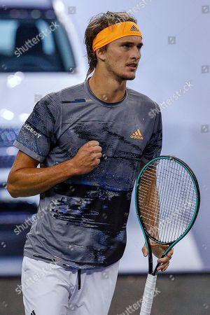 Alexander Zverev of Germany reacts as he plays against Andrey Rublev of Russia during the men's singles match at the Shanghai Masters tennis tournament at Qizhong Forest Sports City Tennis Center in Shanghai, China