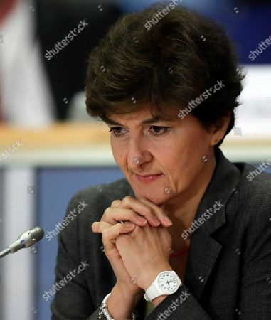 Sylvie Goulard, European Commissioner-designate in charge of Internal Market, attends her second hearing before the European Parliament in Brussels, Belgium, 10 October 2019. MEPs from various committees are hearing the proposed members of Commission President-elect von der Leyen's. Commissioners have to be approved by the parliament following parliamentary vetting process.
