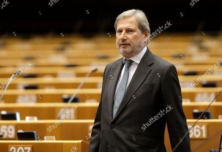 Johannes Hahn, European Commissioner-designate for Budget and Administration, at second day of a plenary session at the European Parliament in Brussels, Belgium, 10 October 2019. The Multiannual Financial Framework 2021-2027 is the main topic of the session.