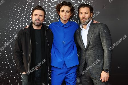 Stock Image of David Michod, US actor/cast member Timothee Chalamet and Australian actor/cast member and writer Joel Edgerton pose for photographs on the red carpet during the Australian premiere of the movie 'The King' at The Ritz Cinema in Randwick, Sydney, Australia, 10 October 2019.