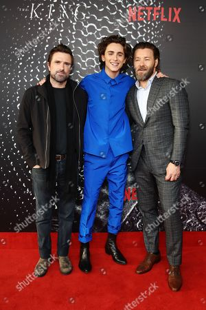 David Michod, US actor/cast member Timothee Chalamet and Australian actor/cast member and writer Joel Edgerton pose for photographs on the red carpet during the Australian premiere of the movie 'The King' at The Ritz Cinema in Randwick, Sydney, Australia, 10 October 2019.