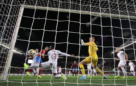 Jakub Brabec of Czech Republic scores his sides first goal  past Jordan Pickford of England