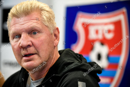 Stefan Effenberg, the newly appointed general manager of German third division soccer team KFC Uerdingen, speaks to the media during a press conference in Duesseldorf, Germany, 10 October. Since the beginning of October 2019, former national player Effenberg has been working for KFC Uerdingen 05 as a sports manager to lead the club out of the crisis.